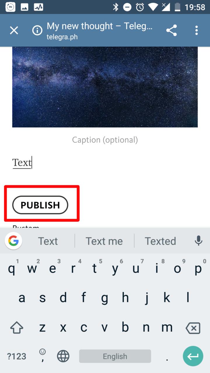 """Кнопка """"Publish"""" для публикации"""
