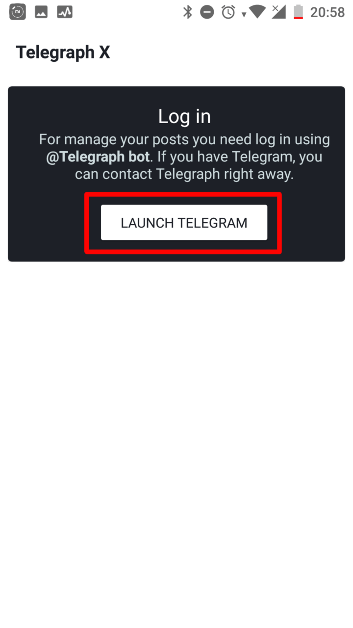 После запуска нажимаем на LAUNCH TELEGRAM